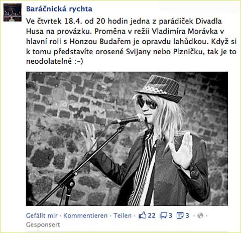 Barnick rychta a&nbsp;Promna na Facebooku, screenshot